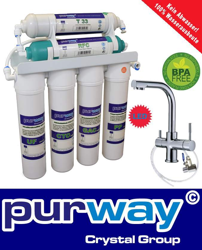 PUR Quick 6 Stufen UF Wasserfiltersystem + 3-Wege Wasserhahn DELTA LED