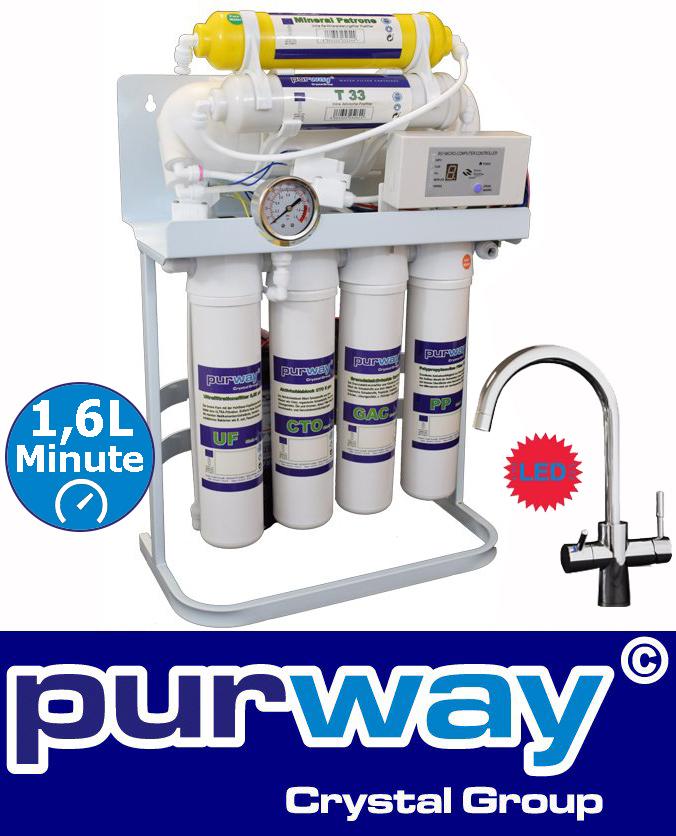 PUR Booster Quick 7 Stufen Umkehrosmoseanlage 600 GPD + 3-Wege Wasserhahn
