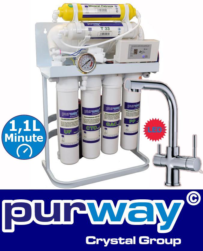 PUR Booster Quick 7 Stufen Umkehrosmose 400 GPD + 3-Wege Wasserhahn DELTA