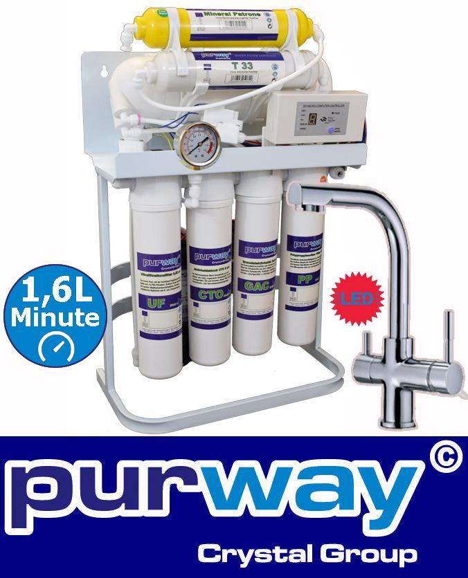 PUR Booster Quick 7 Stufen Umkehrosmose 600 GPD + 3-Wege Wasserhahn DELTA