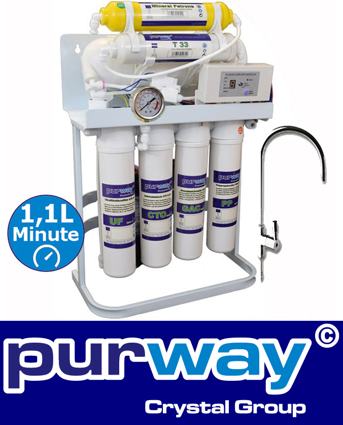 PUR Booster Quick 7 Stufen Direct flow Umkehrosmoseanlage 600 GPD ohne Tank